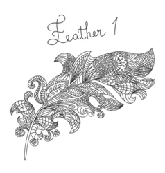 Monochrome hand drawn zentagle of feather Coloring vector