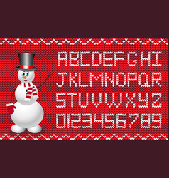 new year or christmas fabric script alphabet knit vector image