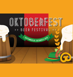 Oktoberfest beer festival background vector