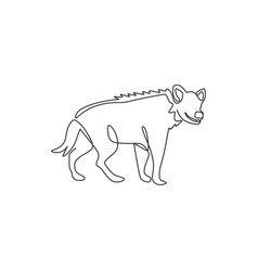 One single line drawing scary spotted hyena vector