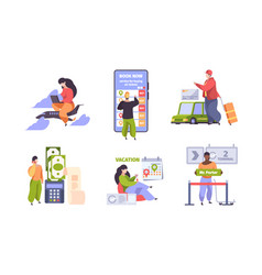 online booking traveling concept scenes with vector image