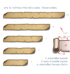 papyrus tittle tag five sizes - folded edges vector image