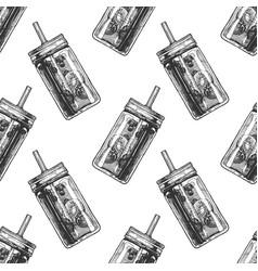 pattern with mason jar vector image