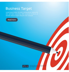 Pencil pointing to dartboard center goal strategy vector