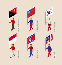 People with flags of asian countries vector