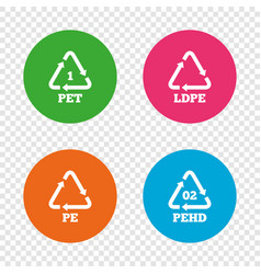 pet ld-pe and hd-pe polyethylene terephthalate vector image