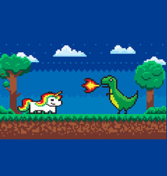 Pixel character fight game dragon and unicorn vector