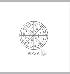 pizza thin flat design on white vector image