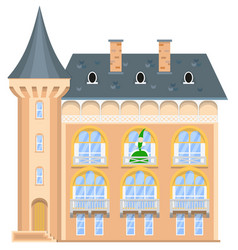 Princess on the balcony of a medieval castle vector