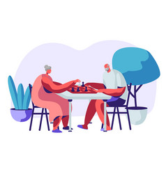 relaxing senior man and woman playing chess vector image
