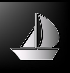 sail boat sign gray 3d printed icon on vector image