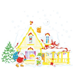 Santa with Christmas gifts vector
