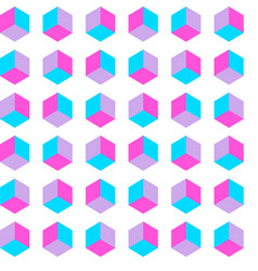 seamless cube pattern gradient pop art vector image