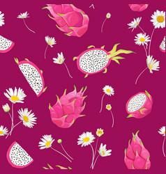 seamless dragon fruit pattern pitaya background vector image