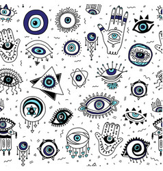 Seamless pattern with evil eyes and fatimas hand vector
