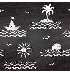 Seaside chalk drawn seamless pattern vector