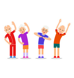 Set of active older people old men and women in vector