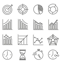set of icons for business training time graphics vector image