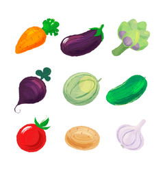 Set of vegetables isolated on white background vector