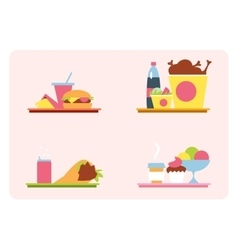 Sets with fast food on a tray vector image