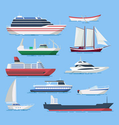 ships and boats set in a flat style vector image