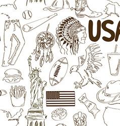 Sketch USA seamless pattern vector image