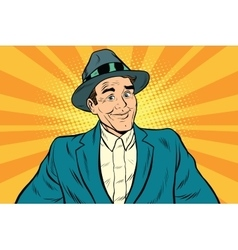 Smiling man without a tie vector image