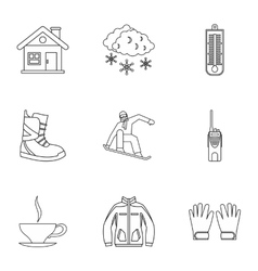 Snowboarding icons set outline style vector