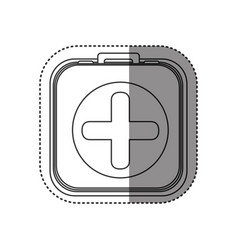 Sticker of monochrome rounded square with first vector
