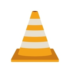 striped traffic cone flat icon vector image
