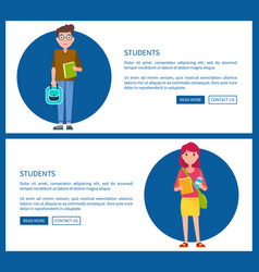 students boy and girl cartoon style web posters vector image