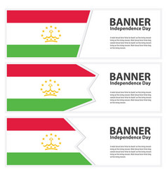 Tajikistan flag banners collection independence vector