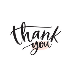 thank you handwritten ink pen lettering vector image