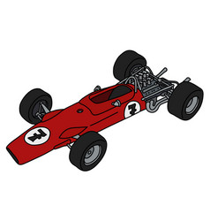 The old red formula one racecar vector