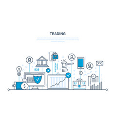 trading growth of finance economic indicators vector image