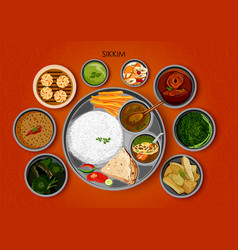 traditional cuisine and food meal thali of sikkim vector image
