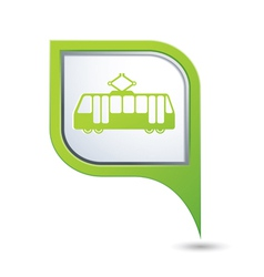 Tram icon on green map pointer vector
