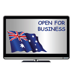 tv advert proclaiming australia open for business vector image