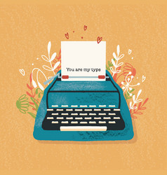 Typewriter and love note with hand lettering vector