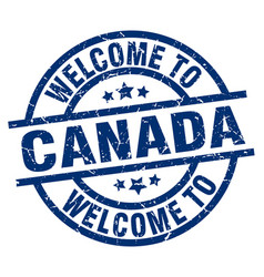 Welcome to canada blue stamp vector