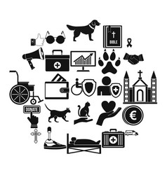 welfare icons set simple style vector image
