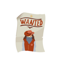 western wanted poster icon vector image