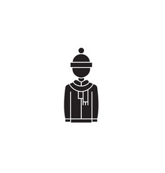 winter clothing black concept icon winter vector image
