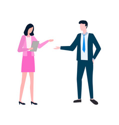 Woman and man discussing business projects vector