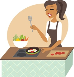 Young woman preparing meal vector