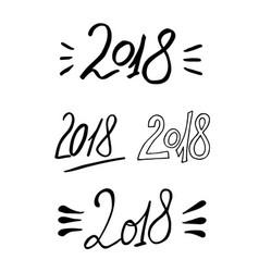 2018 new year calligraphy phrase set handwritten vector image vector image