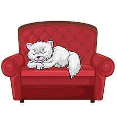 A cat sleeping soundly at the chair vector image vector image