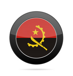 flag of angola shiny black round button vector image