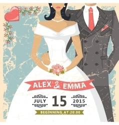 Retro wedding invitationBride groom decor vector image vector image