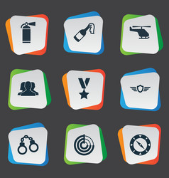 set of simple battle icons vector image vector image